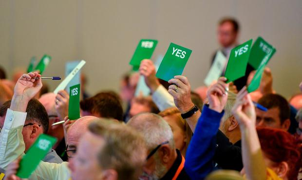 Voting is seen during the FAI AGM at Knightsbrook Hotel in Trim, Meath. Photo: Brendan Moran/Sportsfile