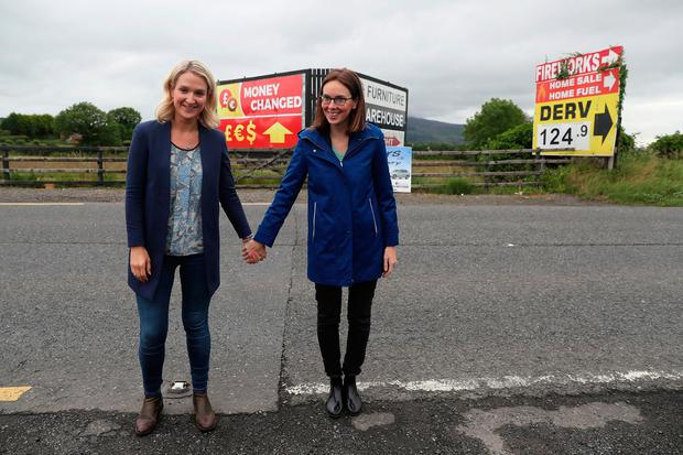 Challenging: Helen McEntee, left, stands on the Republic side of the Border with her French counterpart Améile de Montchalin in the North. Photo: Brian Lawless/PA Wire