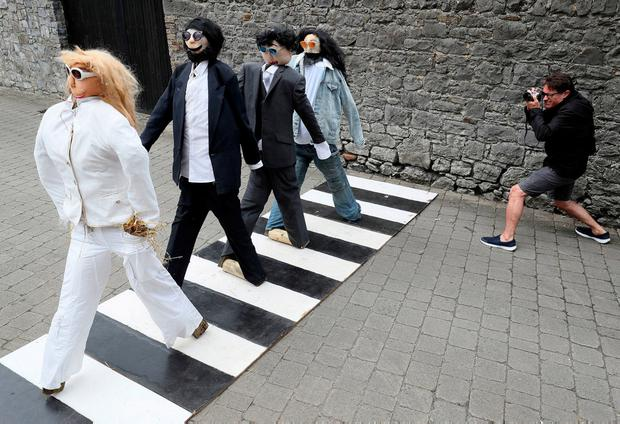 'The Beatles – Abbey Road' at the Durrow Scarecrow Festival, Co Laois. Photo: Brian Lawless/PA Wire