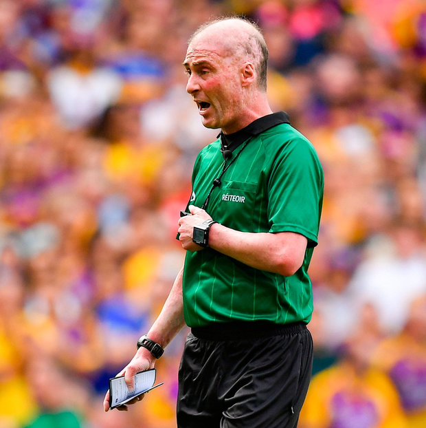 'Twenty-seven seconds after Hogan's catch, McGrath stroked the ball to the Model net, with Kilkenny referee Sean Cleere (pictured) only receiving the information that Chin's placed ball was a point as Tipp began to celebrate.' Photo: Brendan Moran/Sportsfile