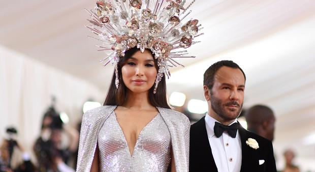 Gemma Chan and Tom Ford arrive for the 2019 Met Gala at the Metropolitan Museum of Art on May 6, 2019, in New York