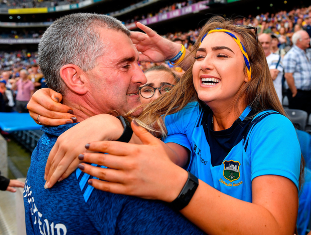 Tipperary manager Liam Sheedy celebrates with daughter Aisling following his side's victory