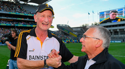 Kilkenny manager Brian Cody is congratulated by Barry Hickey, the Kilkenny County Board Treasurer