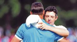 Rory McIlroy, who led the third-round, congratulates Brooks Koepka after the American's St Jude Classic victory on Sunday. Photo: Christopher Hanewinckel/USA TODAY Sports