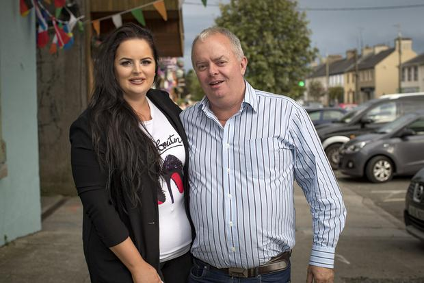 Becki and Seamus Higgins, Love Island's Maura Higgins, sister and father pictured on the night of the final in Ballymahon. Picture: Arthur Carron
