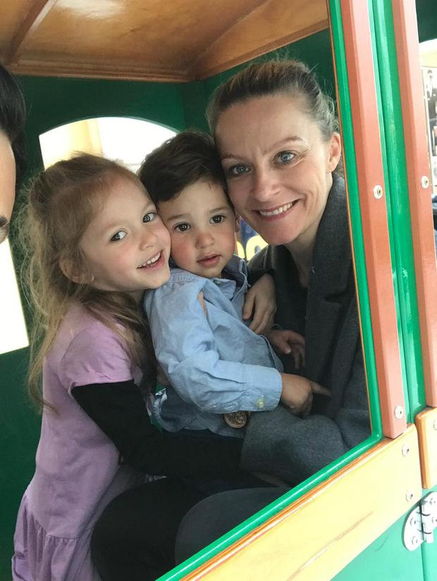 Care: Becky Fiederer with Bella and Luca. Becky decided against putting her children into the Hyde and Seek creche.