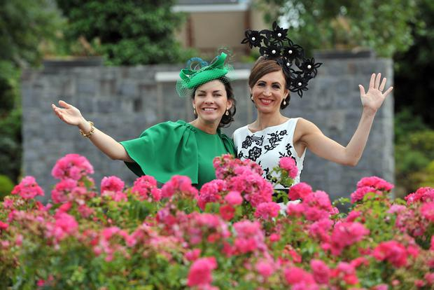 Stylish: Antoinette O'Connell, of Limerick and Eilish McElroy, of Bodyke, Co Clare at the Galway Races festival. Photo: Ray Ryan