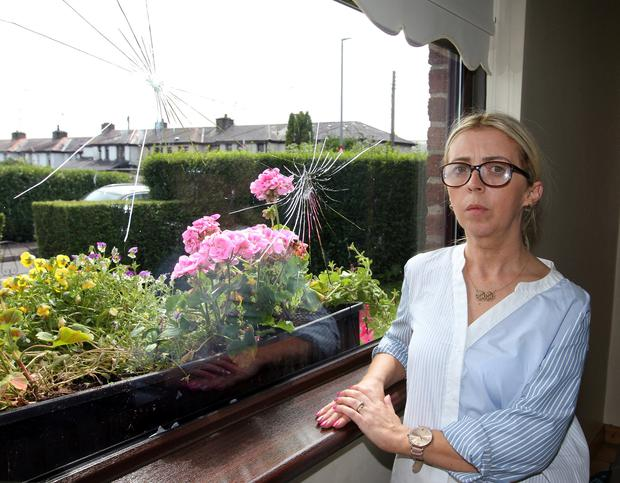 Sharon Gervin, stands beside the                             shattered window of her Loughview gardens                             home in Coalisland.