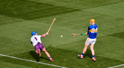 Jake Morris of Tipperary scores a goal past Mark Fanning of Wexford, which was subsequently disallowed