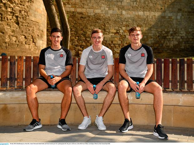 30 July 2019; Dundalk players, from left, Jamie McGrath, Daniel Kelly and Seán Gannon pose for a photograph after the press conference at the Old City in Baku, Azerbaijan. Photo by Eóin Noonan/Sportsfile