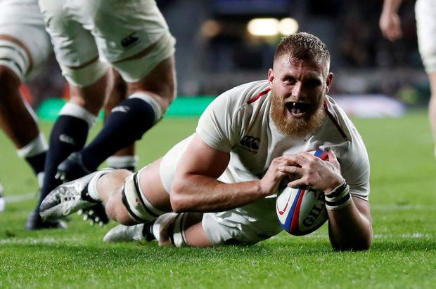 Mako Vunipola FILE PHOTO: Rugby Union - Six Nations Championship - England v Italy - Twickenham Stadium, London, Britain - March 9, 2019 England's Brad Shields scores their eighth try. Action Images via Reuters/Peter Cziborra/File Photo