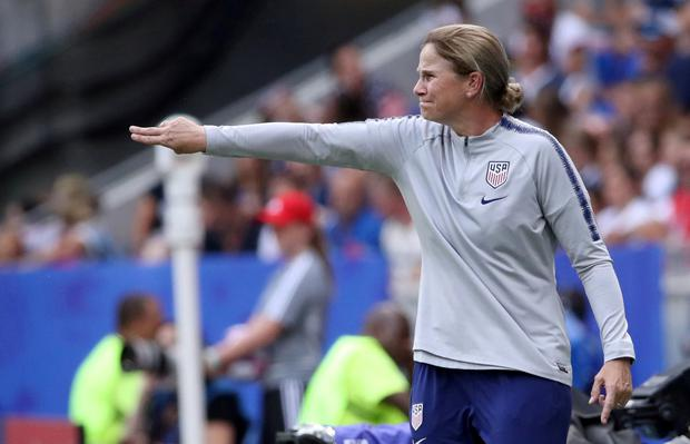 FILE PHOTO: Soccer Football - Women's World Cup Final - United States v Netherlands - Groupama Stadium, Lyon, France - July 7, 2019 Coach of the U.S. Jill Ellis reacts during the match REUTERS/Denis Balibouse/File Photo