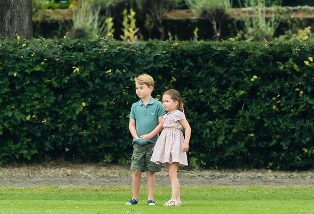 Prince George and Princess Charlotte attend The King Power Royal Charity Polo Day at Billingbear Polo Club on July 10, 2019 in Wokingham, England. (Photo by Samir Hussein/WireImage)