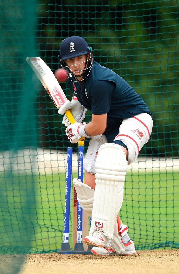 England captain Joe Root goes through his paces ahead of today's first Ashes Test. Photo by Stu Forster/Getty Images