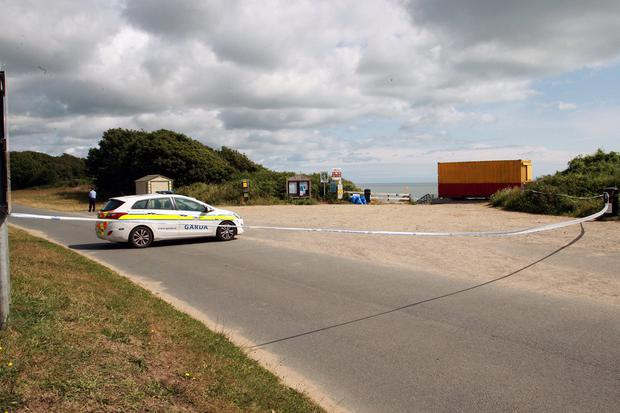 Under investigation: The scene of the alleged sex attacks at Courtown Harbour, Co Wexford is watched over by gardaí