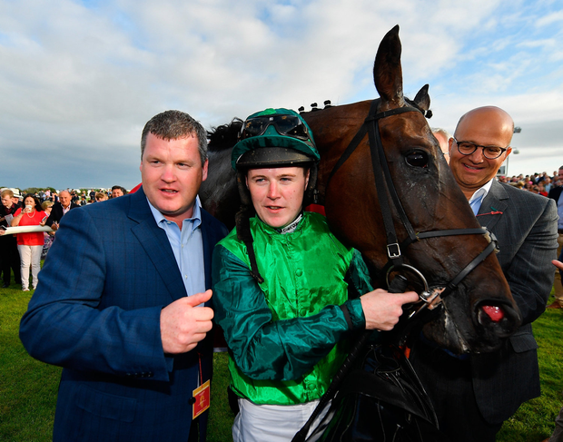 Trainer Gordon Elliott, jockey Luke Dempsey and owner Simon Munir pose with Borice after their Galway Plate win. Photo by Seb Daly/Sportsfile