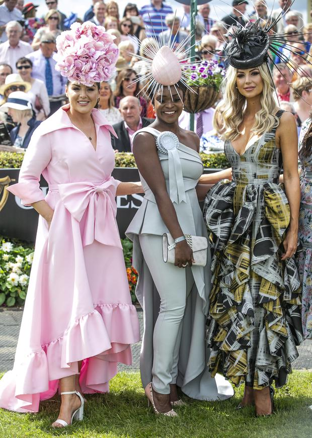 Pamela Uba, Ballyhaunis winner of the Best Dressed Lady at the Galway Races,pictured with Judges Sile Seoige and Rosanna Davidson.