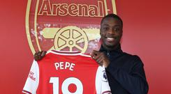 Arsenal unveil new signing Nicolas Pepe at London Colney on July 31, 2019 in St Albans, England. (Photo by Stuart MacFarlane/Arsenal FC via Getty Images)