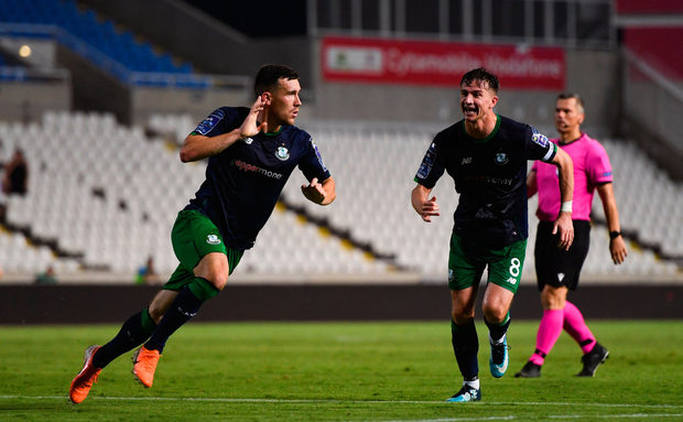 Aaron Greene of Shamrock Rovers celebrates after scoring his side's first goal during the UEFA Europa League 2nd Qualifying Round 2nd Leg match between Apollon Limassol and Shamrock Rovers at the GSP Stadium in Nicosia, Cyprus. Photo by Harry Murphy/Sportsfile