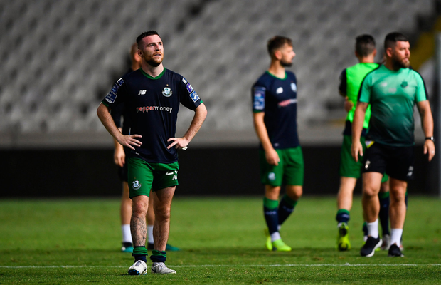 Jack Byrne of Shamrock Rovers reacts at the full-time whistle following the UEFA Europa League 2nd Qualifying Round 2nd Leg match between Apollon Limassol and Shamrock Rovers at the GSP Stadium in Nicosia, Cyprus. Photo by Harry Murphy/Sportsfile