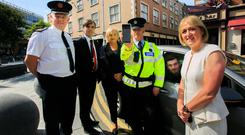 Safety drive: From left, Assistant Commissioner David Sheahan, Prof Denis Cusack, Liz O'Donnell of the RSA, Garda Mark Murphy, driver Conor Creaby and RSA chief executive Moyagh Murdock