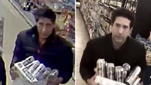 An alleged thief in Blackpool (left) bearing a resemblance to Friends star Schwimmer, who posted a parody video of himself (Blackpool Police/Twitter)