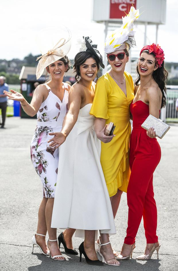Day at the races: Erinn O'Connell from Cork, Imelda Scally of Carrick-on-Shannon, Rebecca Egan from Offaly and Loren Katie Logan of Longford. PHOTOS: PA/KYRAN O'BRIEN