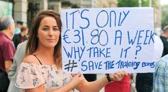 Message: Student Stacey Bermingham at Leinster House. PHOTO: COLLINS