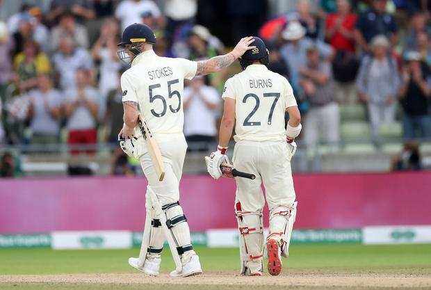 Cricket - Ashes 2019 - First Test - England v Australia - Edgbaston, Birmingham. England's Rory Burns with Ben Stokes at the end of play. Action Images via Reuters/Carl Recine