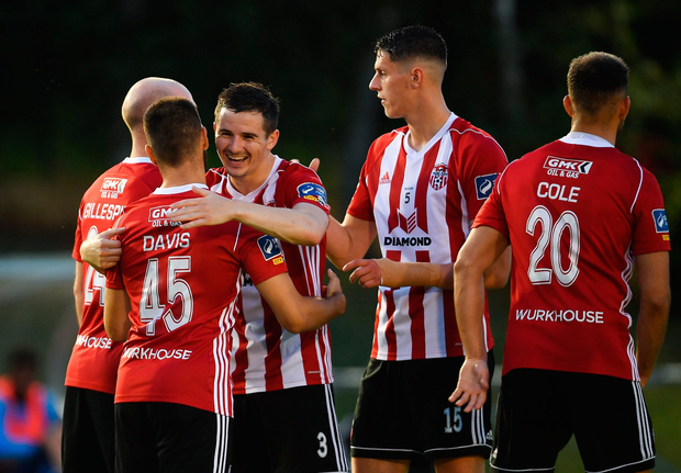 Derry City's Conor Davis, 45, celebrates with team-mate Ciarán Coll after scoring his side's second goal during the SSE Airtricity League Premier Division match against UCD at the UCD Bowl in Belfield, Dublin. Photo by Ramsey Cardy/Sportsfile