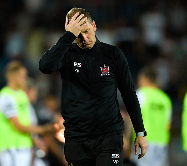 Dundalk boss Vinny Perth shows his disappointment in defeat. Photo: Eóin Noonan/Sportsfile