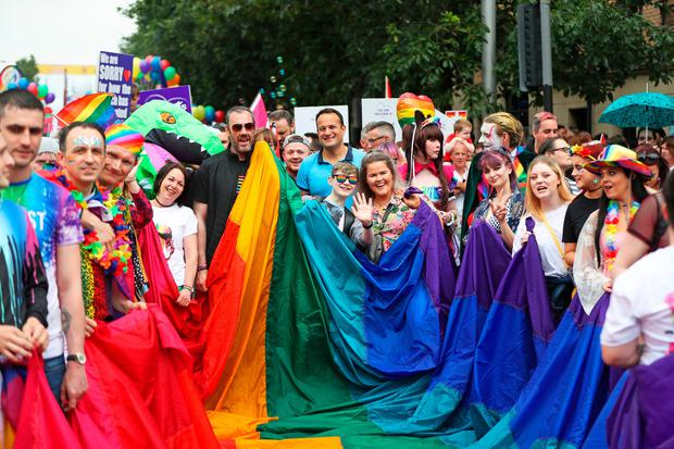 Taoiseach Leo Varadkar (middle) before the start of the         Belfast Pride parade         Photo credit: Niall Carson/PA Wire