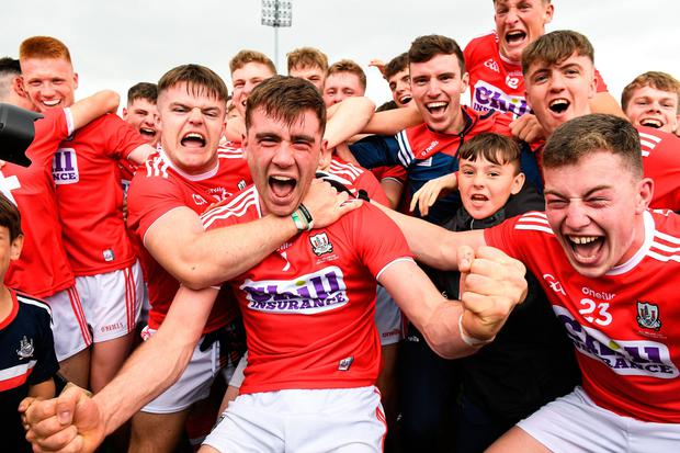 Cork captain Peter O'Driscoll celebrates with his team-mates after the EirGrid GAA Football All-Ireland U20 Championship Final match between Cork and Dublin at O'Moore Park in Portlaoise, Laois. Photo by Matt Browne/Sportsfile