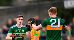 Seán O'Shea of Kerry celebrates with Tommy Walsh, right, after scoring his side's second goal during the GAA Football All-Ireland Senior Championship Quarter-Final Group 1 Phase 3 match between Meath and Kerry at Páirc Tailteann in Navan, Meath. Photo by Stephen McCarthy/Sportsfile