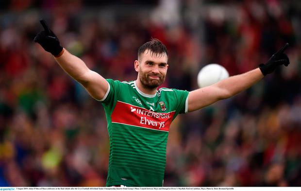 Aidan O'Shea of Mayo celebrates at the final whistle after the GAA Football All-Ireland Senior Championship Quarter-Final Group 1 Phase 3 match between Mayo and Donegal at Elvery's MacHale Park in Castlebar, Mayo. Photo by Daire Brennan/Sportsfile