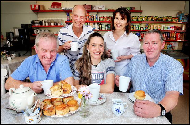 Eamonn O'Neill, Graham Cooke, Anna Moore, Noreen Kilraine and Dan O'Keeffe at the cafe and community shop in Moone. Photos: Steve Humphreys
