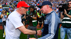 Jim Gavin knows that defeat to Tyrone will change the dynamic in his Dublin team, while Mickey Harte has nothing to lose. Photo: Sportsfile