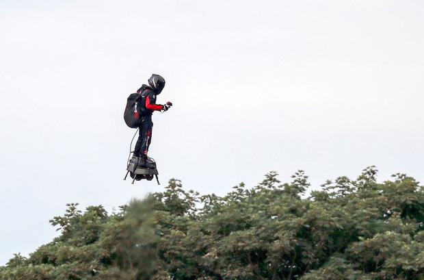 French inventor Franky Zapata lands near St Margaret's beach, Dover after crossing the Channel on a jet-powered hover-board: Steve Parsons/PA Wire