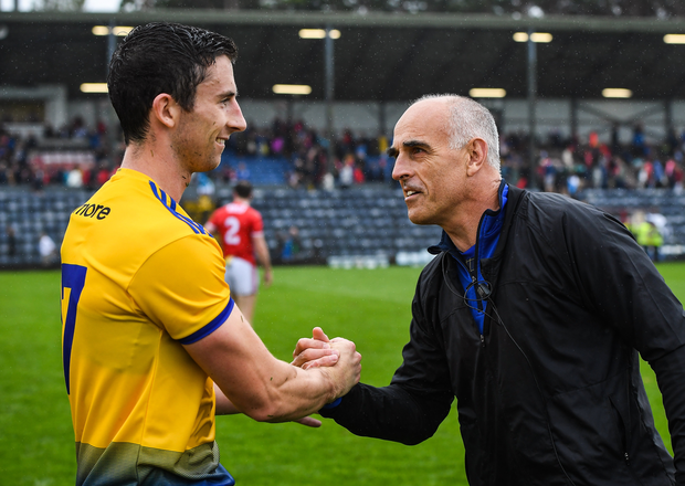 Roscommon manager Anthony Cunningham and Colin Compton after the GAA Football All-Ireland Senior Championship Quarter-Final Group 2 Phase 3 match between Cork and Roscommon at Páirc Uí Rinn in Cork. Photo by Matt Browne/Sportsfile