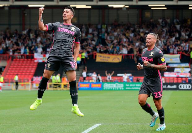 Leeds United's Pablo Hernandez celebrates scoring his side's first goal of the game with team-mates during the Sky Bet Championship match at Ashton Gate, Bristol. Sunday August 4, 2019. Mark Kerton/PA Wire.