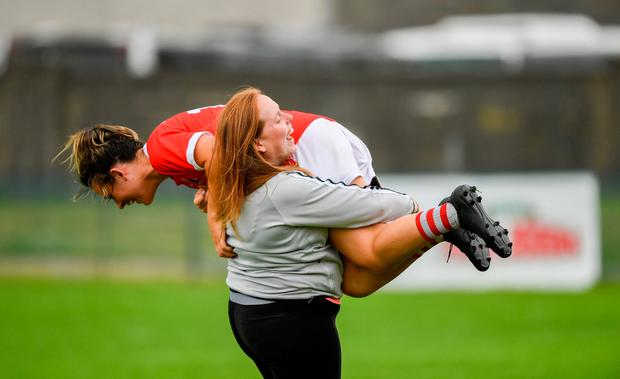Cork's Doireannn O'Sullivan celebrates with supporter Elaine Dee after their TG4 All-Ireland Ladies SFC quarter-final victory over Tyrone. Photo by Ray McManus/Sportsfile