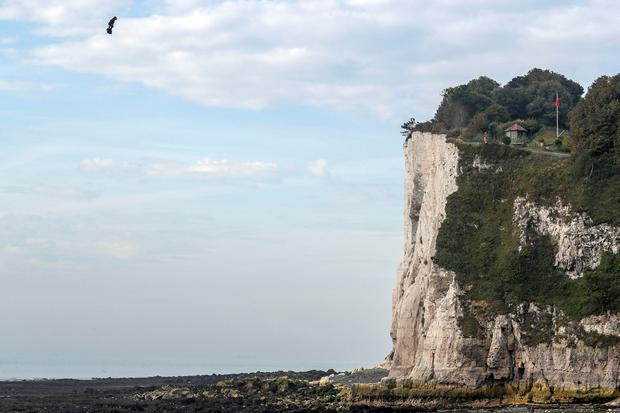 Viva Zapata!: Franky Zapata zooms over the white cliffs of Dover as he completes his flight across the English Channel from Sangatte in France. photos: steve parsons/pa wire