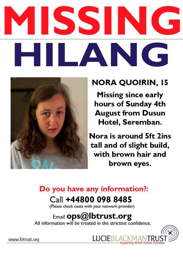 Nora, 15, has gone missing while on a holiday with her family in Malaysia. LBT/Family handout/PA Wire