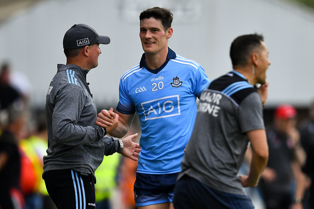 Diarmuid Connolly of Dublin is greeted by Dublin manager Jim Gavin as he leaves the pitch after being shown a black card during the GAA Football All-Ireland Senior Championship Quarter-Final Group 2 Phase 3 match between Tyrone and Dublin at Healy Park in Omagh, Tyrone. Photo by Brendan Moran/Sportsfile