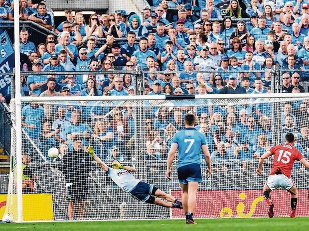 Luke Connolly scoring a penalty. Photo: Eóin Noonan/Sportsfile