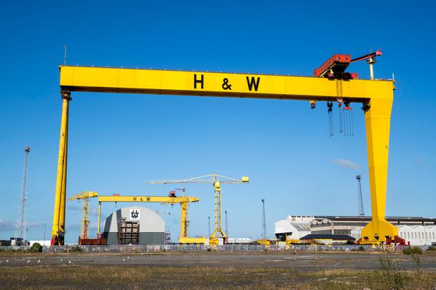 Shutting down: Samson and Goliath, the famous Harland and Wolff cranes, lie idle. Photo: Liam McBurney/PA Wire