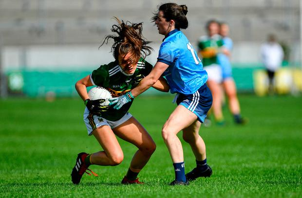 Ciara Murphy of Kerry tries to find a way past Dublin's Lyndsey Davey. Photo: Piaras Ó Mídheach/Sportsfile