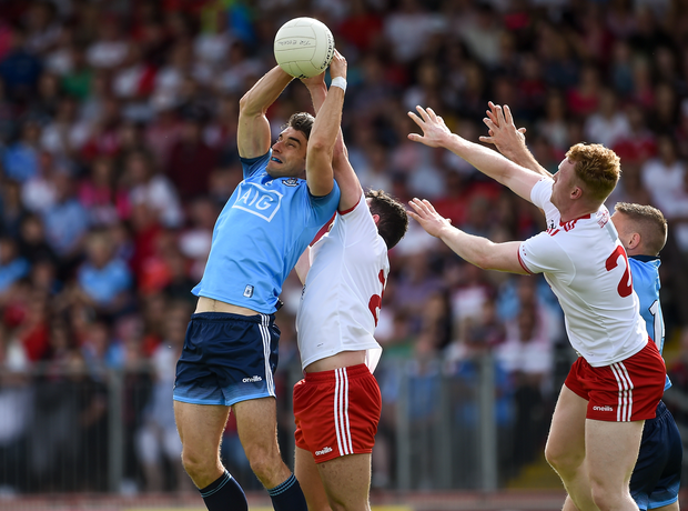 Bernard Brogan of Dublin in action against Ciaran McLaughlin of Tyrone during the GAA Football All-Ireland Senior Championship Quarter-Final Group 2 Phase 3 match between Tyrone and Dublin at Healy Park in Omagh, Tyrone. Photo by Oliver McVeigh/Sportsfile