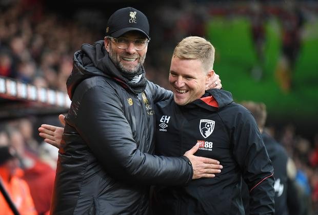 Kevin Moran thinks that it could be a massive season for Eddie Howe (right) and Bournemouth. (Photo by Mike Hewitt/Getty Images)