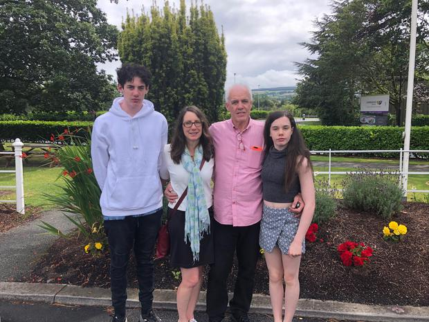 The Gilmour family pictured at their Dublin hotel. (L-R) Declan Gilmour, Kristen Hynes, Bob Gilmour and Sarah Gilmour